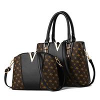 посыльный кожаные дамы оптовых-Bolsos Mujer Women Bags 2pcs/set Leather Handbag New Tote Bag Ladies Handbags Shoulder Crossbody  Messenger Composite