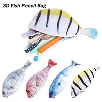 Wholesale pencil shaped pens for sale - Group buy New On Selling Unisex Student Fashion Zipper Carp Fish Shape Cosmetic Casual Bag Pencil Case College Multiple Sizes Pen Bags BL1