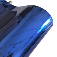хром зеркало кузов автомобиля оптовых-Эластичный синий хромированный винил с пузырьками Без хромированного зеркала Оберточная пленка для автомобиля Стикер автомобиля Мотоцикл Скутер Обтекание кузова автомобиля Обтекание
