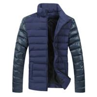 büyük boy kürk mantolar toptan satış-Moda Erkekler Kış Ceket Aşağı Ceket Uzun Kollu Rahat Giyim Kar Sıcak Kürk Yaka Ceket Boy Parkas