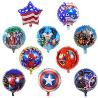 inflables al por mayor-Niños vengadores globos juguetes inflables cumpleaños fiesta de cumpleaños globos decoraciones suministros burbuja de helio lámina globo 18 pulgadas