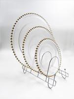 plattenladegeräte großhandel-13 Zoll Runde Hochzeit klar Silber / Gold Glas Perlen Ladegerät Pasteten Glasplatte für Hochzeit Tischdekoration AA1906