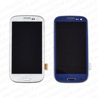 ingrosso assembly samsung s3 lcd-100 PZ LCD Touch Screen Digitizer Assembly pezzi di ricambio per Samsung Galaxy S3 i9300 S4 i9500 S5 i9600 G900 con telaio