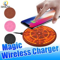 ingrosso iphone che accende il caricatore-Magic Wireless Array Charger 10W Qi Wireless Light Up Pad di ricarica rapida universale per iPhone Samsung Smart Phones Circle Charging Pads