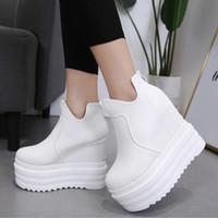 cuñas de 14cm. al por mayor-Zapatos blancos SWYIVY otoño las botas del tobillo de la plataforma Mujer 2018 Otoño Nueva Mujer Calzado casual 14cm Cena de alta cuña corta femenina Botas