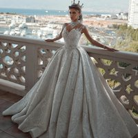 Wholesale champagne wedding dresses veil resale online - 2020 Vintage Crystals Wedding Dresses A Line Lace Beaded Ruffle Garden Wedding Gowns with Veil vestido de novia Bridal Dress