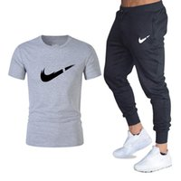 Wholesale casual men shorts trousers for sale - Group buy Men S Sets Classic Brand O Neck Printedt Shirts Pants Two Pieces Set Casual Tracksuit Male Gyms Fitness Trousers M XL