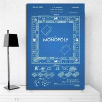 Wholesale wall art cartoon paintings for bedroom for sale - Group buy The blue Vintage Monopolyingly Game Board Wall Art Canvas Poster And Print Canvas Painting Decorative Picture For Bedroom Home Decoration