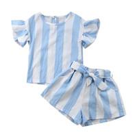 las niñas fijan la correa al por mayor-Buena calidad Ropa de niña Ropa para niños Conjunto de ropa de rayas Tops + Pantalones de bolsillo + Cinturón ropa para niños niñas roupas infantis menina