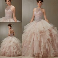 Wholesale white embroidery quinceanera dresses resale online - Quinceanera Dresses Ball Gowns Halter Neck Beaded Crystal Embroidery Sweet Dress Vestidos De Sleeveless Prom Gowns