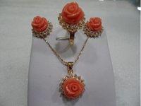 anel de coral de 18k venda por atacado-Esmeralda Moda Mulher Jóias bridai rosa coral 18 K banhado a ouro colar de anel de brinco setS