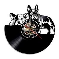 ingrosso arte animali domestici-Modern Art 2019 Evaastore Bulldog Francese Cane Orologio Da Parete In Vinile Record Design Moderno Animale Pet Orologio Da Parete Cucciolo Bulldog Amante Regalo