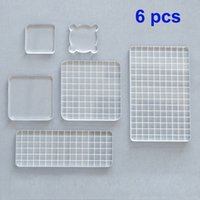 Wholesale block stamps resale online - 6pcs Diy Acrylic Clear Stamp Block Set Handle Photo Album Decor Essential Stamping Tools For Scrapbooking Crafts Making Q190528