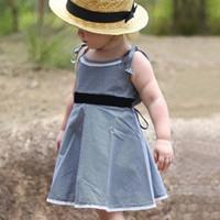 bandaj çocuğu toptan satış-Kızlar Ekose Elbise Çocuklar Dantel Yay Ekose Ruffles Sapanlar Elbiseler Yaz Omuz Bandaj Plaj Kıyafeti Çocuk Giyim