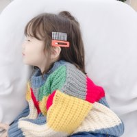 Wholesale knit clothes for kids resale online - Children Outfits Kids Rainbow Plaid Sweaters Baby Color Patchwork Sweatshirt Stripe Knitting Pullover Warm Wool Tops for Kids Clothing M464