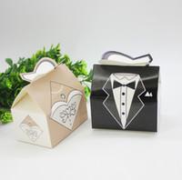 ingrosso scatole regalo del vestito da cerimonia nuziale-2019 Candy Box Bride Groom Dresses Packing Sweet Box Bomboniere Scatole regalo per la decorazione del ricevimento