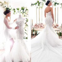 Wholesale silver wedding dress pearl buttons resale online - Arabic Plus Size Strapless Sweetheart Lace Appliqued Pearl Beaded Mermaid Wedding Dresses With Sweep Train Bridal Gowns With Covered Button