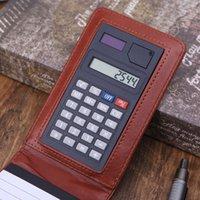 carnet de note couverture en cuir achat en gros de-Pocket A7 Bloc-Notes En Cuir Couverture Bloc-Notes Mémo Agenda Planificateur Avec Calculatrice De Travail Des Fournitures De Bureau