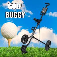 eisen ziehen großhandel-Golfwagen Eisenschwarz Verstellbarer Golfwagen Wagen mit 2 Rädern Push-Pull-Wagen aus Aluminiumlegierung mit faltbarer Bremse