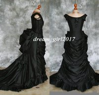 Wholesale off white beach wedding gowns for sale - Group buy 2020 Taffeta Beaded Gothic Victorian Bustle Gown with Train Vampire Ball Masquerade Halloween Black Wedding Dress Steampunk Goth th centur