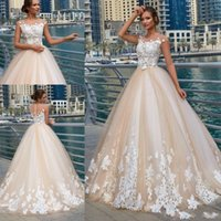 Wholesale lace overlay dress train resale online - Ball Gown Nude Tulle Overlay D Flower Lace Wedding Dress Sheer Neck Floor Length Bridal Gowns Champagne Ivory Vintage Design