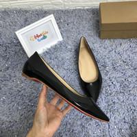 бежевая женская обувь оптовых-Red Sole Классическая обувь Женская кожаная обувь на плоской подошве Черный Бежевый стиль с острым носом Женская роскошная красная нижняя обувь