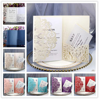 Wholesale laser wedding invites for sale - Group buy Glittery Wedding Invitation Cards Kits Spring Flower Laser Cut Pocket Bridal Invitation Card For Engagement Graduate Birthday Party Invites