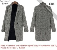 señoras cálida zanja al por mayor-GotoseeU Ladies Winter Warm Lapel Trench Lana Cashmere Long Parka Outwear fabuloso