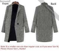 tranchée chaude dames achat en gros de-GotoseeU Mesdames Hiver Revers Warm Trench Laine Cachemire Long Parka Manteau Outwear génial