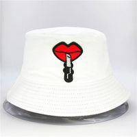 Wholesale lipsticks for men for sale - Group buy Lipstick lips embroidery cotton Bucket Hat Fisherman Hat outdoor travel Sun Cap Hats for kid men Women