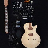guitarra elétrica diy sólido venda por atacado-Incompleto Guitarra Elétrica Kit Com Flamed Maple Top, guitarra DIY mogno Sólido, Pls escolher com ou sem partes de guitarra