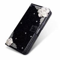 ingrosso bling kickstand-Custodia per cellulare Camellia Bling Wallet per Apple iPhone XS Max / XR 8/7/6 / 5S Plus Custodia a risvolto per cavalletto con supporto per scheda per Galaxy S9 S9 + S8 S8 +