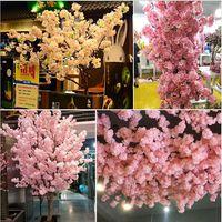 yapay bitkiler kiraz çiçeği toptan satış-Simüle Kiraz Çiçeği Yapay Bitkiler Ev Dekorasyon Ipek Kiraz Çiçekleri Yapay Buket Düğün Festivali Dekoratif Çiçek
