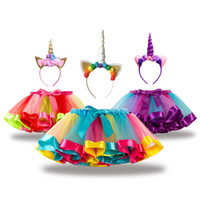 Wholesale children classic clothes online - Girls Skirts Children Clothing Summer Rainbow Tutu Skirts Unicorn Hairband Sets Designer Kids Clothes for Girls Party Dress