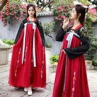 chinese trajes tradicionais mulheres venda por atacado-New Hanfu Mulheres vestido estilo chinês Tang terno chinesa antiga e tradicional roupa da dança popular Desempenho Costume DQL733