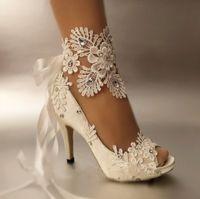 abra a mulher do laço do dedo do pé venda por atacado-Sapatos de vestido Mulheres Bombas Toe Aberto Lace Sapatos de Casamento Peep Toe Elegante Mancha Riband Salto Alto Tamanho Grande 41 42 43