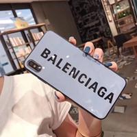 мягкий чехол lg g2 оптовых-Роскошный модный стеклянный глянцевый B Letter дизайнерский чехол для телефона iPhone 11 Pro Max X XS MAX XR 6S 6 7 8 Plus Shell задняя крышка мобильного телефона A07