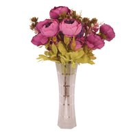 ingrosso fiori di mazzo di nozze-Decorazioni per matrimoni 13 Teste / Bouquet Peonia Decor Fiori artificiali Home Decor Peonia Fiori di seta Decorazione di nozze Bouquet di mani
