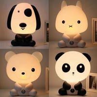 ingrosso lampada da notte del fumetto panda-Spina UE US Lampada da letto per bambini Lampada da notte Cartoon Animali domestici Coniglio Panda Plastica PVC Sonno Lampada da notte a LED per bambini Lampada da notte per bambini