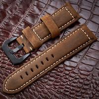 ingrosso orologi in metallo nero per le donne-Cinturini 20 22 24 26mm vera pelle marrone scuro nero uomo donna handmade vintage scrub cinturino da polso cinturino in metallo fibbia T190620