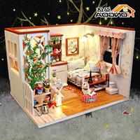 minyatür ışıklar toptan satış-2019 Araya DIY Bebek Evi Oyuncak Ahşap Miniatura Bebek Evleri Mobilya LED Işıkları Ile Minyatür Dollhouse oyuncaklar Doğum Günü Hediye