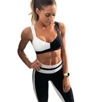leggings de entrenamiento negros al por mayor-Ropa deportiva de mujer Chándal Mujer Fitness Gym Set Traje de Yoga Traje Femenino Deporte Top + Leggings Correr Ropa de Entrenamiento Negro Blanco # 74348