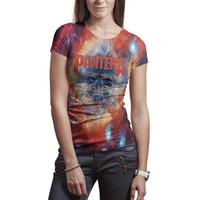eski metal ağır metal toptan satış-Kadın Band Pantera Ağır Metal Kaya t gömlek Polyester beyaz tasarım vintage slim fit Tees