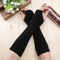 девушки-клавиатуры оптовых-Winter Arm Warm Long Knitted Gloves Women Keyboard Leak Finger Gloves Lady Girls Hand Mittens Women's Fingerless Glove Mitts@30