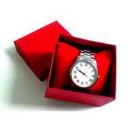 papier bijoux oreiller boîte achat en gros de-Boîtes de montres de mode Boîtier de montre carré en papier rouge noir avec boîte de rangement pour bijoux