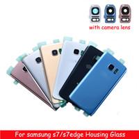objectifs de caméra oem achat en gros de-Boîtier arrière en verre avec cache-objectif de la caméra + autocollant adhésif pour Samsung Galaxy S7 G930 S7 Edge G935F