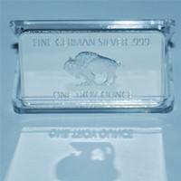 Free shipping wholesale 10pcs lot 1 Troy Ounce German Buffalo silver Bullion Bar coins, German Sliver .999 American Buffalo bar