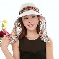 Wholesale Summer Outdoor Riding Anti UV Sun Hat Women Beach Foldable Sunscreen Floral Print Caps Neck Face Wide Brim For Ladies