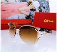 óculos de sol de qualidade aaa venda por atacado-Top de Luxo Qualtiy Novas Mulheres Da Moda sem aro Óculos De Sol Do Vintage de Metal Grosso Espelho de vidro Óculos de Sol de Alta Qualidade estilo Estrela Com Caixa