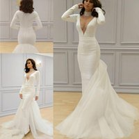Wholesale white formal gowns online - 2019 Yousef aljasmi Mermaid Long Sleeves Evening Dresses Beaded High Neck White Prom Dress Dubai Satin Formal Party Pageant Gowns Plus Size